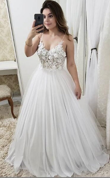 A-line Wedding Dress, Fashion Custom Made Bridal Dress YDW0074
