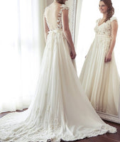 A-line Appliqued Wedding Dress Fashion Custom Made Bridal Dress YDW0013