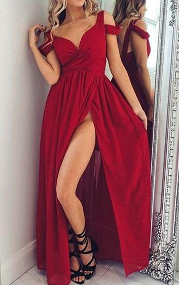Sexy A-line Long Prom Dress with Slit Fashion Wedding Party Dress YDP0034