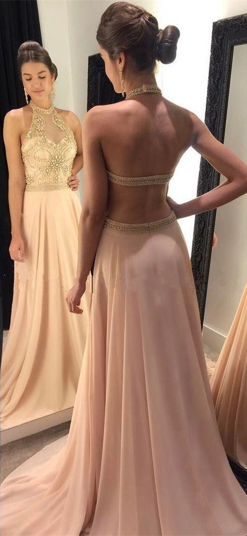 Halter Neck A-line Long Prom Dress with Beading Custom Made Formal Dress Fashion Winter Dance Dress YDP0114