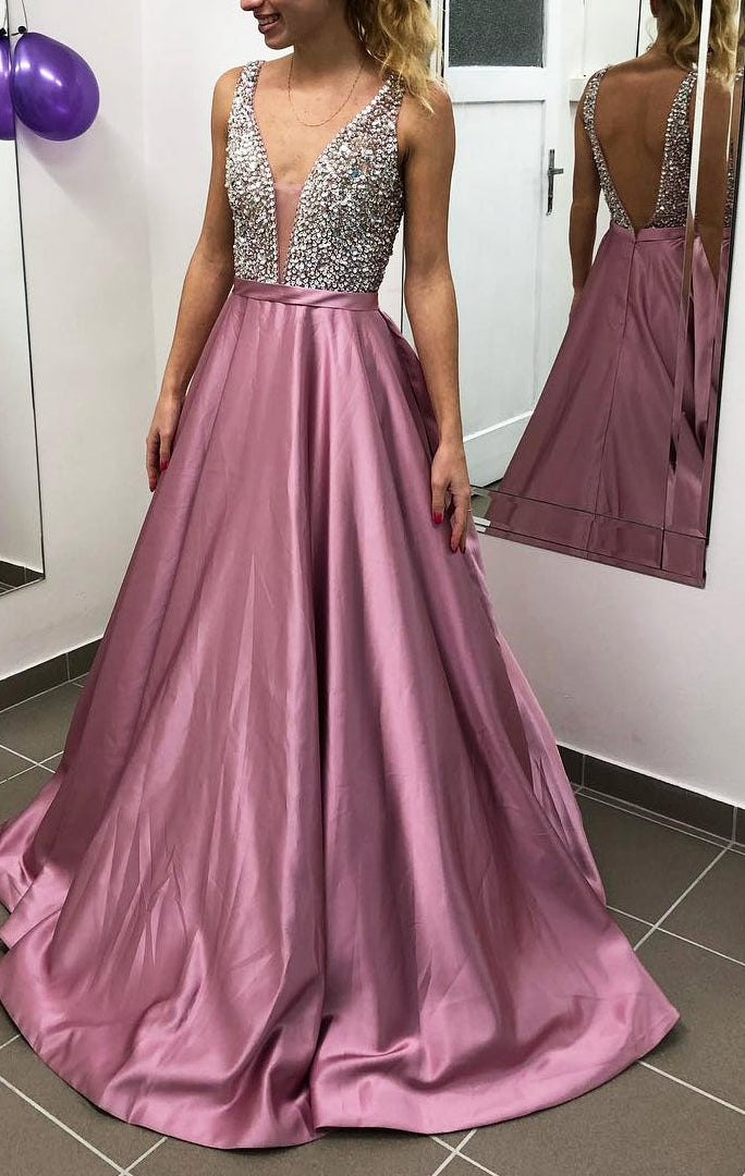Backless Sexy Long Prom Dress With Beading Custom-made School Dance Dress Fashion Wedding Party Dress YDP0611