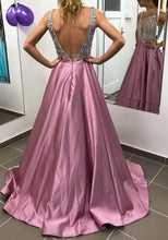 Load image into Gallery viewer, Backless Sexy Long Prom Dress With Beading Custom-made School Dance Dress Fashion Wedding Party Dress YDP0611