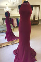 High Neck Mermaid Long Prom Dress Custom Made Party Dress Fashion Winter Dance Dress YDP0082