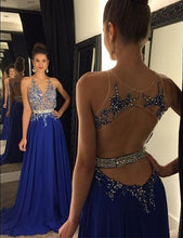 Load image into Gallery viewer, Open Back A-line Long Prom Dress with Applique and Beading Custom Made Formal Dress Fashion Winter Dance Dress YDP0104