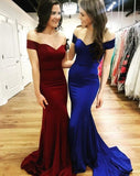 Off the Shoulder Mermaid Long Prom Dress School Dance Dress Fashion Winter Formal Dress YDP0306