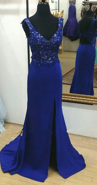 V-neck Mermaid Long Prom Dress With Applique and Beading School Dance Dress Fashion Winter Formal Dress YDP0386