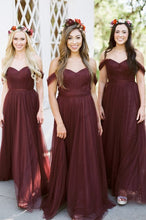 Load image into Gallery viewer, Off Shoulder Simple Long Bridesmaid Dress,Custom Made Future Wedding Formal Dress YDB0065