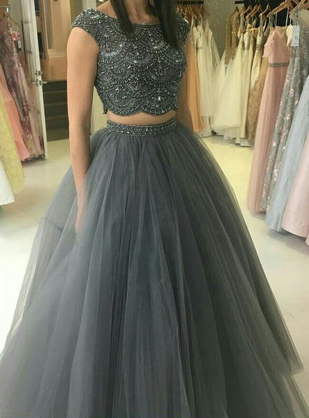 Two Pieces Beaded Long Prom Dresses Custom-made School Dance Dress Fashion Graduation Party Dress YDP0585