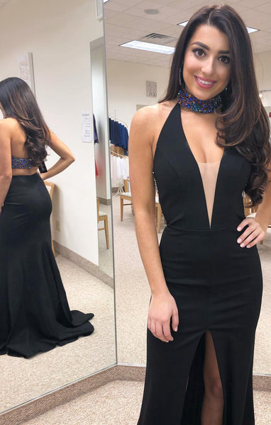 Halter Neck Black Long Prom Dress With Slit Custom-made School Dance Dress Fashion Graduation Party Dress YDP0475