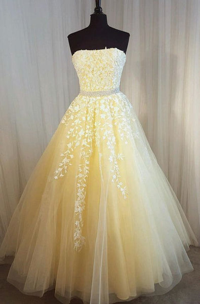 2021 Strapless Ball Gown Long Prom Dresses with Appliques and Beading ,Formal Dresses YPS1058