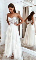 Strapless A-line Beach Wedding Dress, Fashion Custom Made Bridal Dress YDW0072