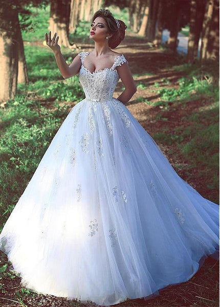 Popular Ball Gown Lace/Tulle Wedding Dress With Beading Fashion Custom Made Bridal Dress YDW0025