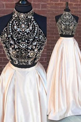 Two Pieces Long Prom Dresses With Beading Custom-made School Dance Dress Fashion Graduation Party Dress YDP0576