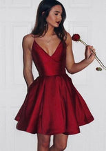 Load image into Gallery viewer, V-neck Simple Burgundy Homecoming Dress Custom Made Short Dance Dress Fashion Short Prom Dress YDP0199