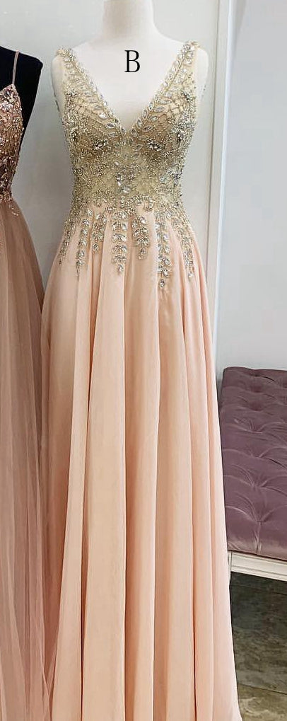 A-line Beaded Long Prom Dress 8th Graduation Dress Custom-made School Dance Dress YDP0734