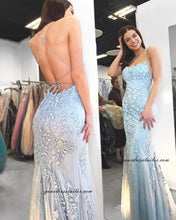Load image into Gallery viewer, Prom Dress Mermaid Long Dress For Graduation Custom-made School Dance Dress with Applique and Beading  YDP0651