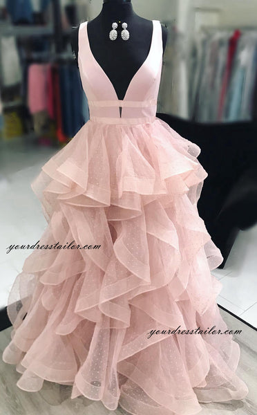 Deep V-neck Prom Dress Long 8th Graduation Dress Custom-made School Dance Dress YDP0652