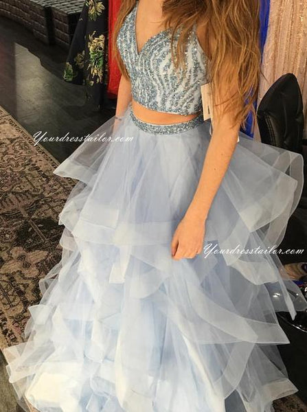 V-neck Two Pieces Prom Dress With Beading Long Dress For Graduation Custom-made School Dance Dress  YDP0643