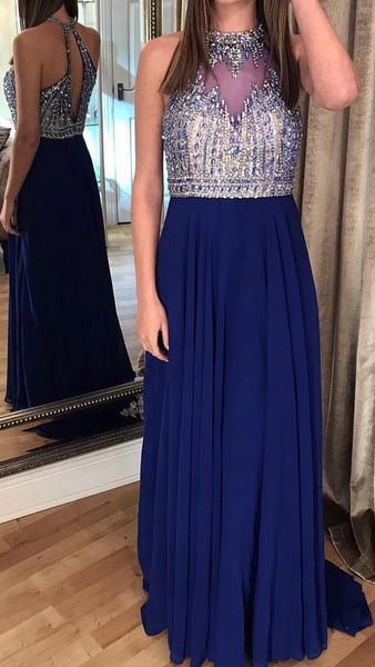 Open Back Prom Dress With Beading Long 8th Graduation Dress Custom-made School Dance Dress  YDP0666