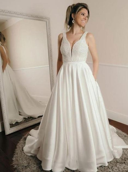 A-line Satin Wedding Dress with Beading,Fashion Bridal Dresses,Custom Made Wedding dress YDW0036