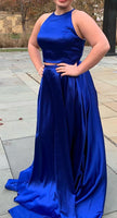 Royal Blue Two Pieces Prom Dress Long 8th Graduation Dress Custom-made School Dance Dress  YDP0665