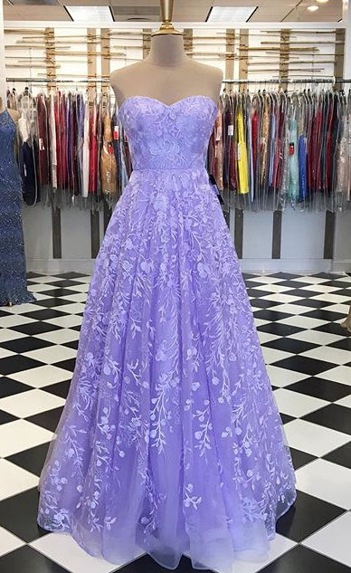 Sweetheart Lace Long Prom Dresses ,Formal Dresses YPS1081