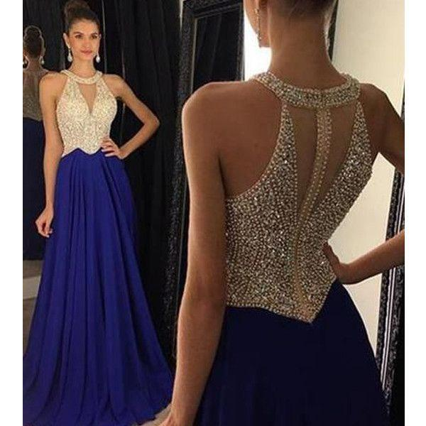 Royal Blue Beaded A-line Long Prom Dress Custom Made Party Dress Fashion Winter Dance Dress YDP0080
