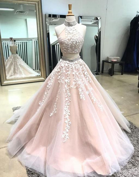 Two Pieces Halter Neck Long Prom Dresses 8th Graduation Dress Custom-made School Dance Dress YDP0749