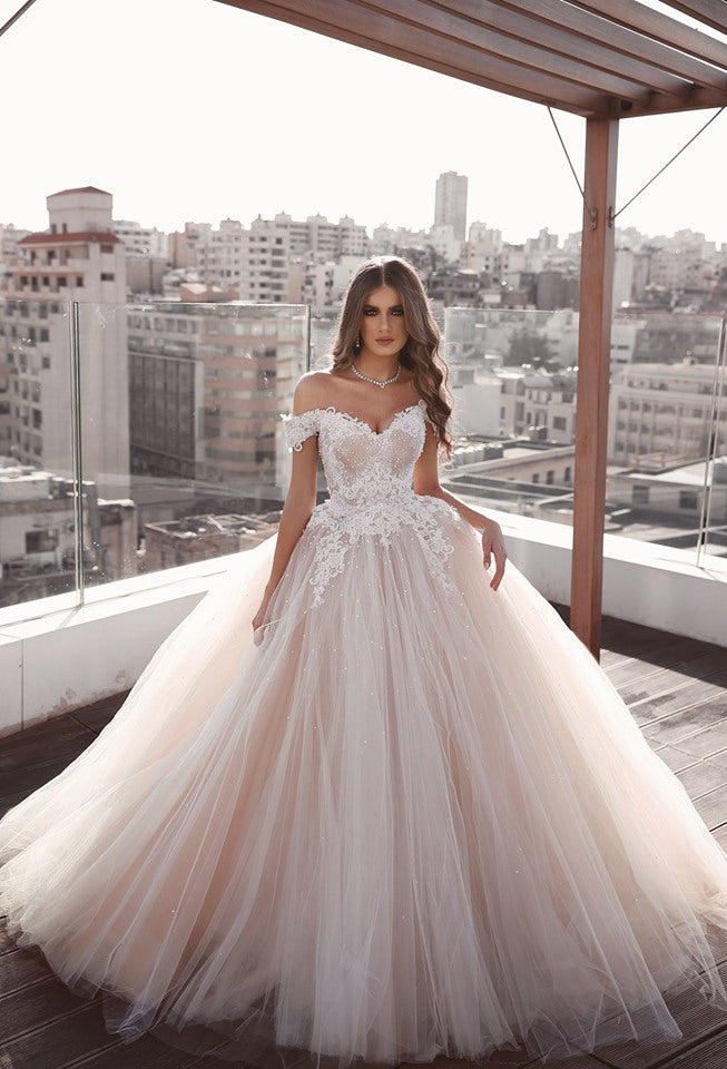 Off Shoulder Ball Gown Wedding Dress ,Fashion Custom Made Real Photo Bridal Dress YDW0066