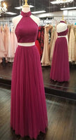 Two Pieces Halter Neck Beaded Long Prom Dress Fashion Formal Dress YDP0052