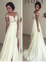 A-line Lace/Chiffon Beach Wedding Dress Fashion Custom Made Bridal Dress YDW0012