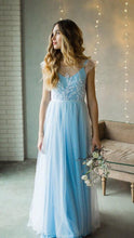 Load image into Gallery viewer, A-line Long Prom Dresses with Appliques ,Formal Dresses YPS1074