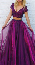 Load image into Gallery viewer, Two Pieces Beaded Long Prom Dresses Custom-made School Dance Dress Fashion Graduation Party Dress YDP0546
