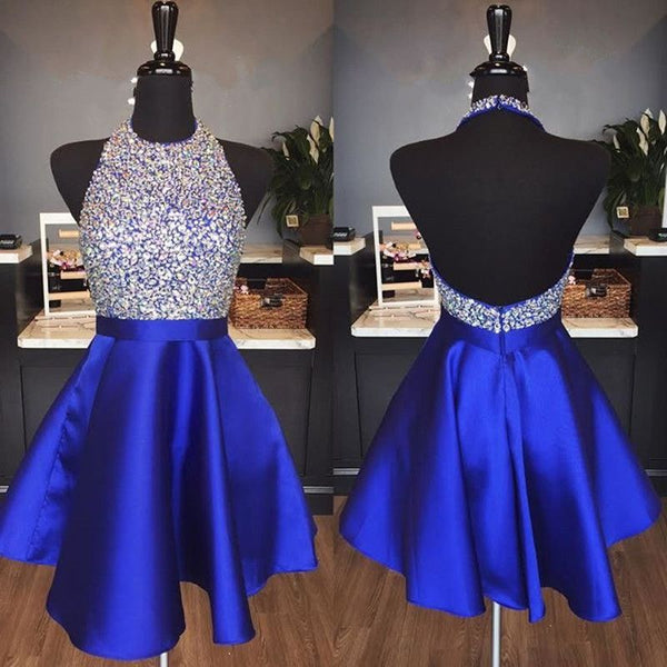 Halter Neck Backless Homecoming Dress with Beadeing Custom Made Royal Blue Winter Dance Dress Fashion Short Prom Dress YDP0102