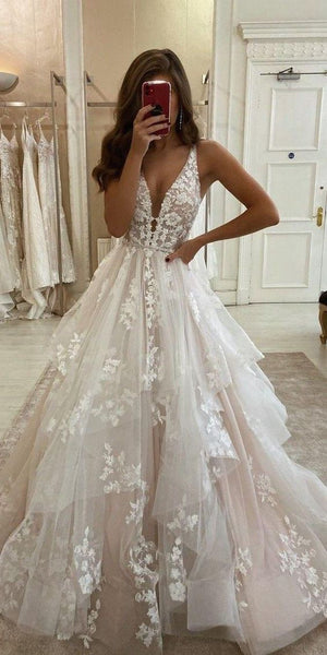 V-neck Tulle Wedding Dress with Applique, Fashion Custom Made Bridal Dress YDW0083