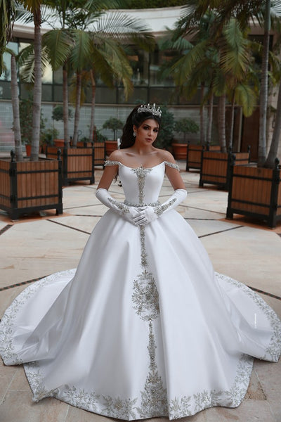 Satin Ball Gown Wedding Dress ,Fashion Custom Made Real Photo Bridal Dress YDW0065