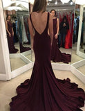 Backless Simple Long Prom Dress Custom Made Mermaid Formal Dress Fashion Winter Dance Dress YDP0142