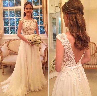 Backless A-line Beach Wedding Dress Fashion Custom Made Lace/Tulle Bridal Dress YDW0009