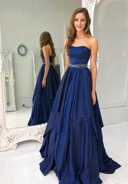 Strapless A-line Long Prom Dress School Dance Dress Fashion Winter Formal Dress YDP0297