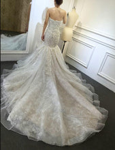 Load image into Gallery viewer, Sweetheart Mermaid Lace Wedding Dress with Applique and Beading,Fashion Bridal Dresses, Custom Made Wedding dress YDW0038