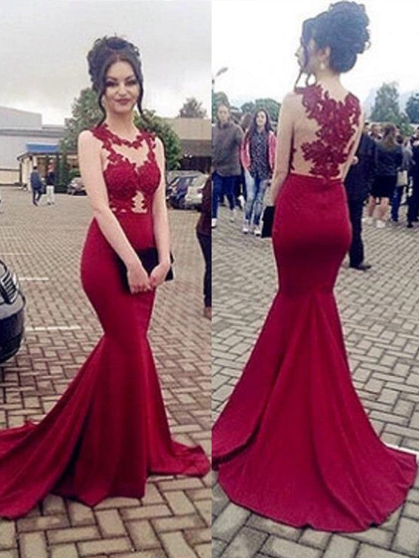 Mermaid Long Prom Dresses With Applique Custom-made School Dance Dress Fashion Graduation Party Dress YDP0507