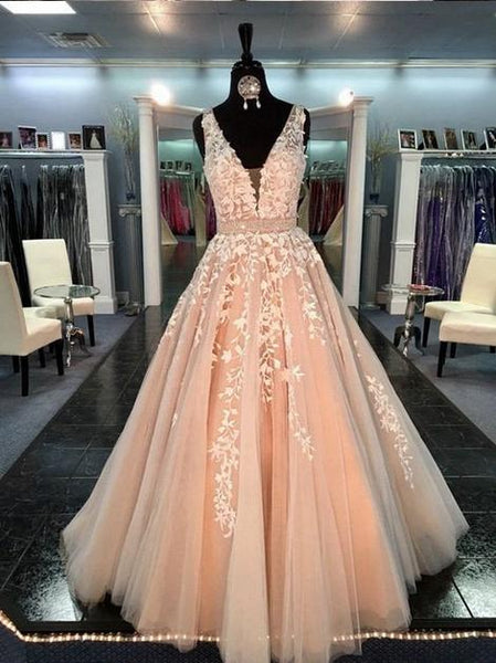 V Neck Ball Gown Wedding Dress with Applique and Beading Fashion Custom Made Bridal Dress YDW0022