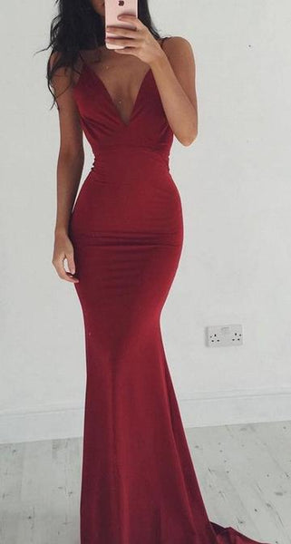 Deep V-neck Sexy Long Mermaid Prom Dress Fashion Wedding Party Dress YDP0013