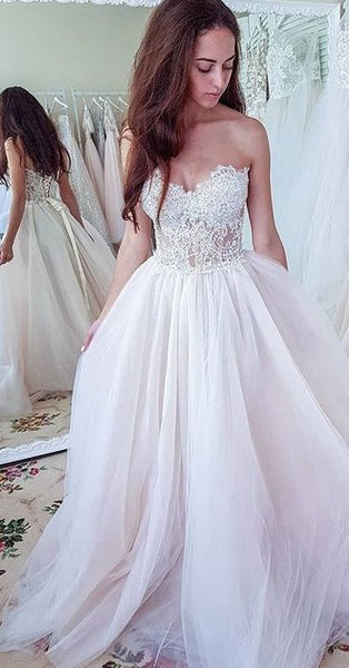Sweetheart Beach Wedding Dress With Lace Up Back Fashion Custom Made Bridal Dress YDW0044
