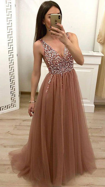 V-neck Sexy Beaded Long Prom Dresses Custom-made School Dance Dress Fashion Graduation Party Dress YDP0563