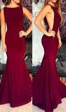 Load image into Gallery viewer, Burgundy Sexy Mermaid Long Prom Dress School Dance Dress Fashion Winter Formal Dress YDP0264