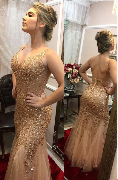 Sex Golden Long Prom Dress With Full Beading Custom-made School Dance Dress Fashion Graduation Party Dress YDP0593