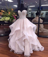 Sweetheart Ball Gown Long Prom Dress With Beading Custom Made Formal Dress Fashion Winter Dance Dress YDP0175