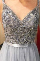 V-Neck Long Prom Dress With Beading Custom-made School Dance Dress Fashion Graduation Party Dress YDP0591