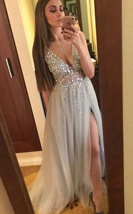 Deep V-neck Sexy Long Prom Dresses With Beading Custom-made School Dance Dress Fashion Graduation Party Dress YDP0551